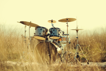 Drum set in the field