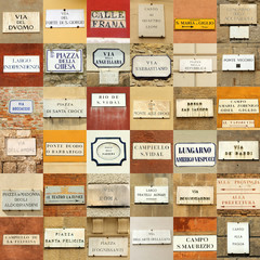italian abstract wall made of street names signs