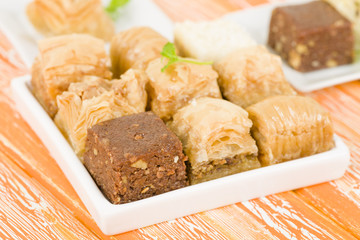 Baklava - Middle Eastern sweet pastry and nuts selection