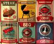Vintage BBQ steak poster design set