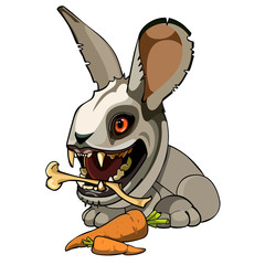 toothy mutant rabbit chews bone