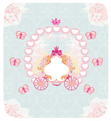 carriage- vintage floral wedding invitation
