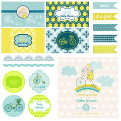 Baby Shower Bunny and Bike Party Set - for Design, Birthday