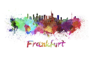 Frankfurt skyline in watercolor