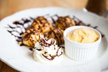 Eclairs filled with with ice cream