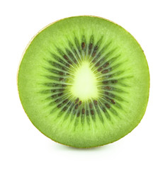 Round kiwi slice isolated on white background