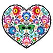 Polish folk art art heart with flowers - wzory lowickie