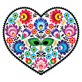 Fototapety Polish folk art art heart with flowers - wzory lowickie