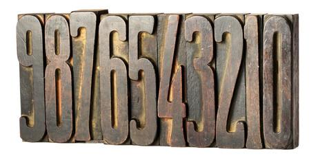 Set of old printers blocks with numbers