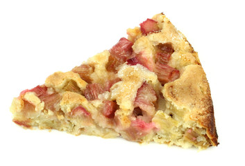 Rhubarb pie isolaed on white background.