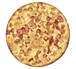Rhubarb pie isolaed on white background.