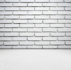 White brick wall and cement floor room in perspective.