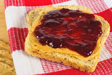 Peanut butter and jelly on whole wheat bread