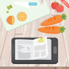 flat design - mobile application cookbook concept