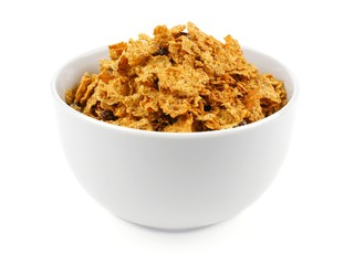 Bowl of bran flakes cereal on a white background