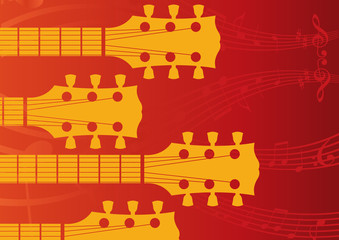A music, vector background with Guitar headstocks