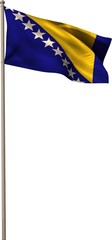 Bosnian national flag waving on pole