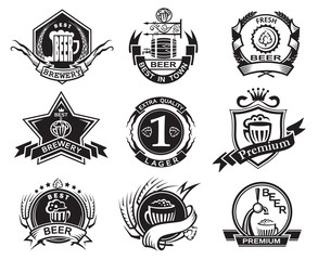 set of nine monochrome beer labels