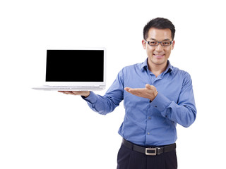 asian businessman holding laptop, isolated on white background