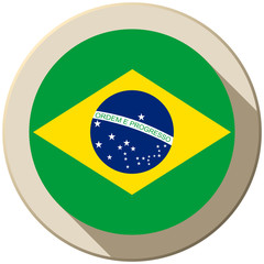 Brazil Flag Button Icon Modern