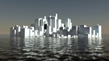 3d abstract city in the sea. Seasteading concept