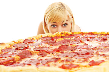 Woman and pizza
