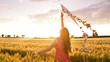 Woman Running With Kite Sunset Summer Freedom Slow Motion