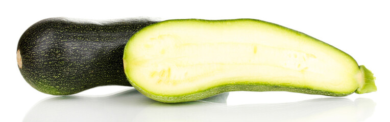 fresh zucchini and half isolated on white