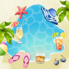 Summer beach  illustration with cocktail glasses.