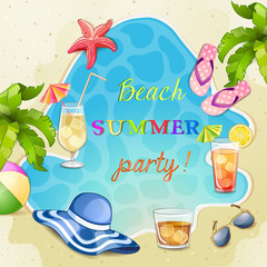 Summer beach party illustration with cocktail glasses.