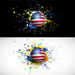 usa flag with soccer ball dash on colorful background