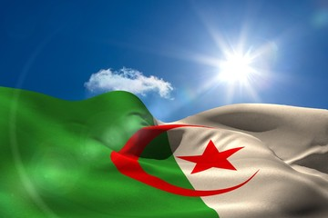 Algeria national flag under sunny sky