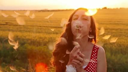 Beauty Young Woman Blowing Dandelion Wishing Joy Concept