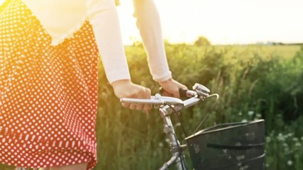 Happy Woman Riding Bicycle Summer Sunset Nature Outdoors