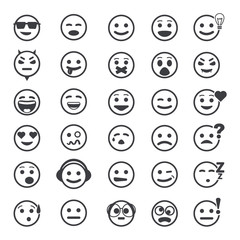 Great set of vector icons with smiley faces