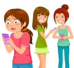 girl being bullying through mobile  phone