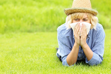 Woman allergic to grass