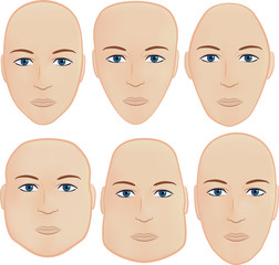 Set of 6 most common head shapes