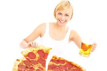 Woman with beer and pizza