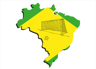 brazilian map and football
