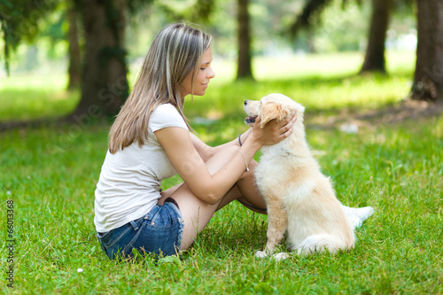 Woman at the park with a dog