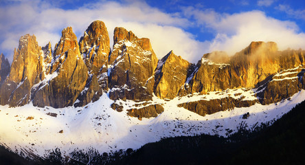 impressive Dolomites on sunset, val di Funes, north of Italy