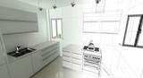 Cucina, Appartamento, Rendering 3d progetto, interni - 66013969