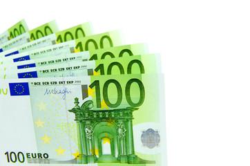 Ein Fächer mit 100-Euro-Geldscheinen