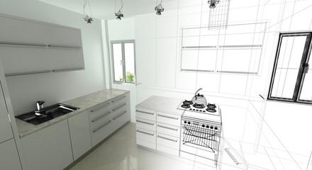 Cucina, Appartamento, Rendering 3d progetto, interni