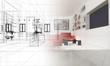 Leinwanddruck Bild - Appartamento, Rendering 3d progetto, interni