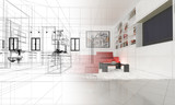 Appartamento, Rendering 3d progetto, interni poster