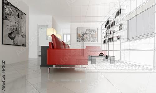 Appartamento, Rendering 3d progetto, interni - 66014127