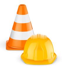Casque et cône de chantier vectoriels 1