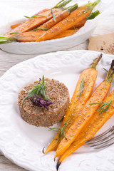 Wheat groats  and Caramelized carrots
